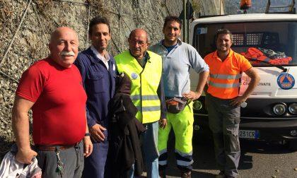 Protezione civile al lavoro in via Provinciale