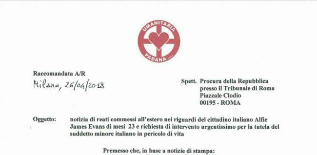Umanitaria Padana interpella la Procura per Alfie