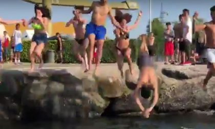 Tuffi nel lago: a Vercurago è già inziata la stagione estiva VIDEO