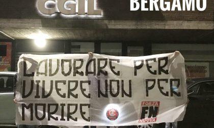 Striscione di Forza Nuova contro la Cgil di Bergamo