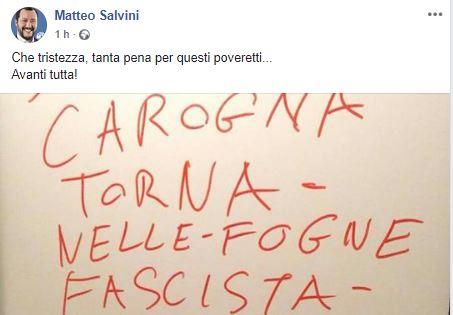 Insulti a Salvini a Cisano e lui replica: &#8220&#x3B;Tanta pena per questi poveretti&#8230&#x3B;&#8221&#x3B;