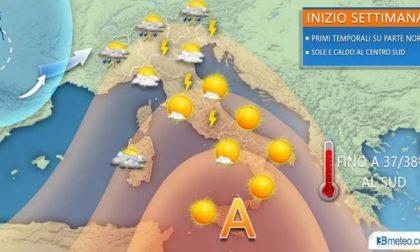 Tornano i temporali al nord, caldo africano al sud