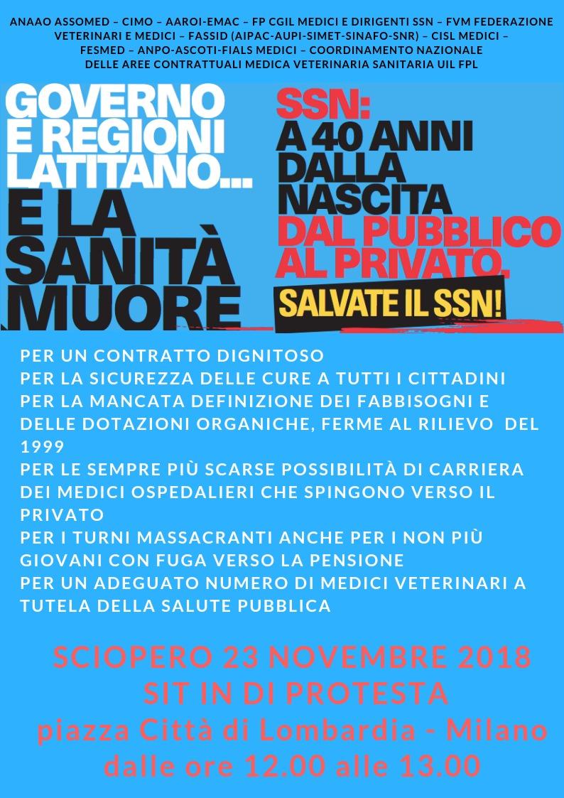 Venerdì sciopero di medici e dirigenti del Servizio Sanitario Nazionale: sit-in a Milano