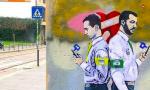 """TvBoy, l'autore del """"bacio tra Salvini e Di Maio""""  ha colpito a Milano FOTO"""