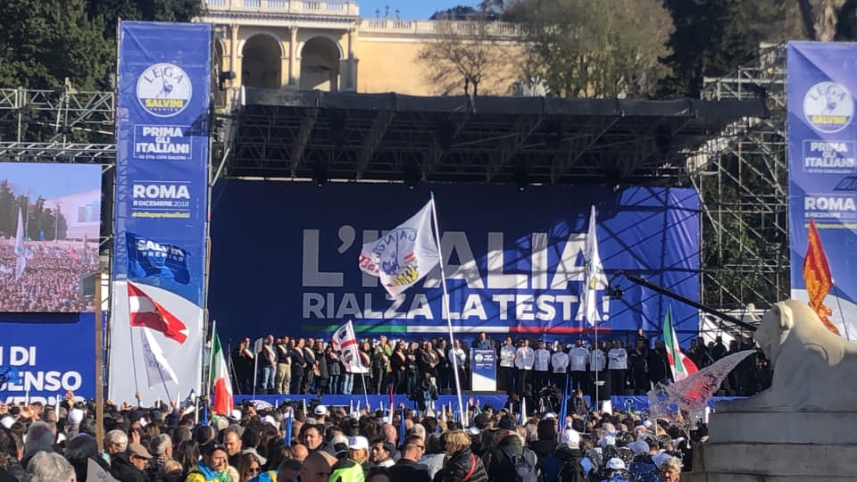 """Manifestazione Lega a Roma Salvini: """"Servono unità e il rispetto dell'Europa"""" FOTO"""