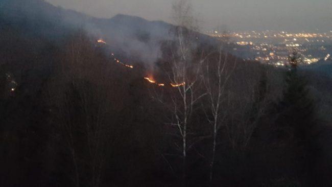 Incendio bosco in Brianza FOTO