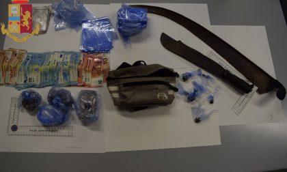 Poliziotti lecchesi nel bosco della droga: trovati cocaina, eroina, hashish, soldi e anche due machete