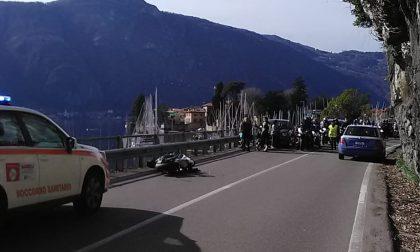 Incidente motociclistico sulla strada di lungolago a Mandello