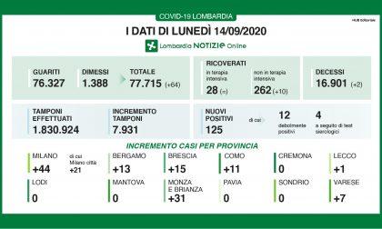 Coronavirus, meno tamponi e meno casi: 125 in Lombardia, 1 a Lecco