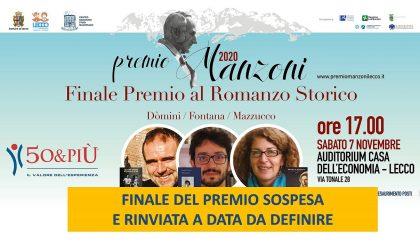 Rinviata a data da destinarsi la cerimonia finale del Premio Manzoni al Romanzo Storico 2020