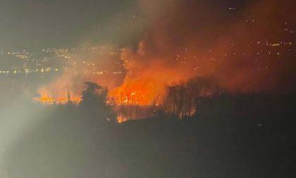 Maxi incendio in riva al lago: mobilitati i Vigili del Fuoco da Lecco, Merate, Bellano e Valmadrera