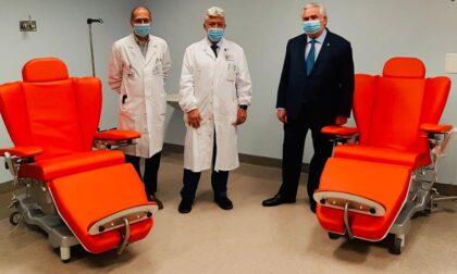 La Fondazione Rockefeller dona nove poltrone  per l'infusione di farmaci agli Ospedali di Lecco e Merate