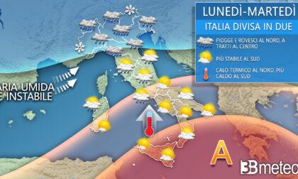 L'Italia si spacca in due: piogge e temporali al Centronord, caldo al Sud | METEO