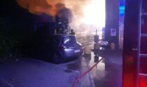 Lecco, incendio di un container alle Meridiane FOTO