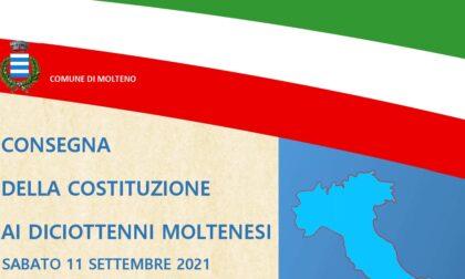 Molteno, sabato 11 settembre la consegna delle Costituzioni ai neo diciottenni